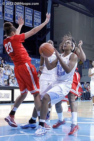 McDaniel pulls up in the lane  - UNC Players: #34 Xylina McDaniel