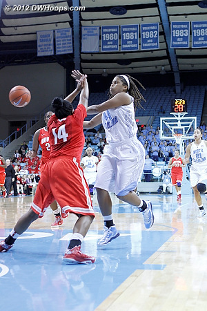 TRP dish to McDaniel resulted in free throws  - UNC Players: #44 Tierra Ruffin-Pratt