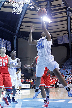 McDaniel layup with 1:14 left puts Heels within 1, 54-53  - UNC Players: #34 Xylina McDaniel