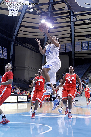 Ruffin-Pratt stole the ball and scored for a 55-54 UNC lead with 41 ticks left  - UNC Players: #44 Tierra Ruffin-Pratt