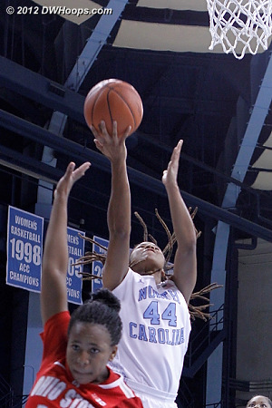 Ruffin-Pratt converts the steal into another deuce, Heels up 57-54 with 27 seconds remaining  - UNC Players: #44 Tierra Ruffin-Pratt