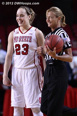Kastanek with Dee Kantner before tip off  - NCSU Players: #23 Marissa Kastanek