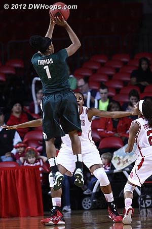 Thomas shot 6-13, with open looks like this  - MSU Players: #1 Jasmine Thomas