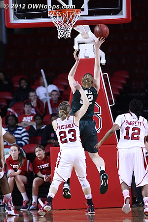 When not shooting open threes, Michigan State got past the NC State defense for layup after layup  - NCSU Players: #23 Marissa Kastanek - MSU Tags: #52 Becca Mills