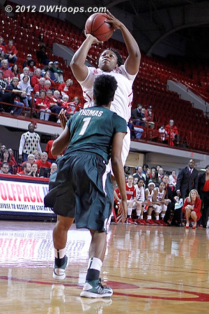Kastanek and Goodwin-Coleman made back-to-back Wolfpack threes, it was starting to become a game again  - NCSU Players: #1 Myisha Goodwin-Coleman - MSU Tags: #1 Jasmine Thomas