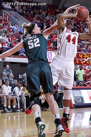 Foul on Mills, Burke free throw makes it 32-24 MSU  - NCSU Players: #44 Kody Burke - MSU Tags: #52 Becca Mills