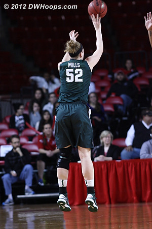 Pack let Mills get an open look with 30 seconds left in the half, the three extended the Spartan lead to nine  - MSU Players: #52 Becca Mills