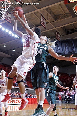 Schiffauer should have been credited with a blocked shot for this stop, she did get the rebound and MSU started to gain separation  - NCSU Players: #12 Krystal Barrett - MSU Tags: #24 Courtney Schiffauer