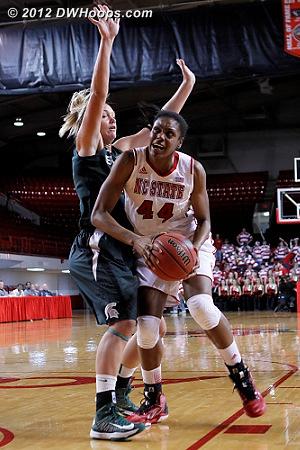 NC State kept battling  - NCSU Players: #44 Kody Burke - MSU Tags: #24 Courtney Schiffauer