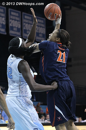 ACCWBBDigest Photo  - UNC Players: #32 Waltiea Rolle - UVA Tags: #21 Jazmin Pitts