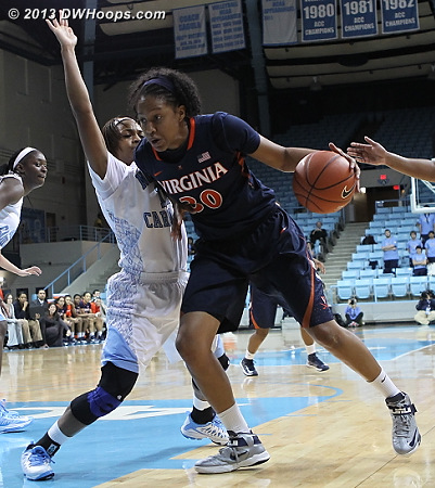 Mismatch  - UNC Players: #11 Brittany Rountree - UVA Tags: #30 Telia McCall