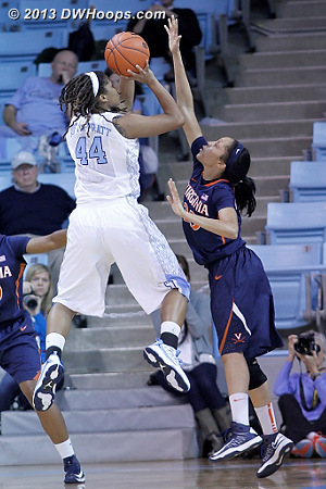 ACCWBBDigest Photo  - UNC Players: #44 Tierra Ruffin-Pratt - UVA Tags: #30 Telia McCall