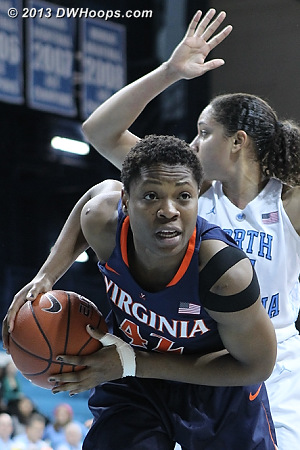 Foul on Gross  - UNC Players: #21 Krista Gross - UVA Tags: #42 Sarah Imovbioh