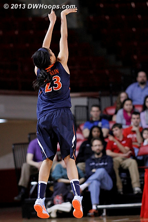 Virginia was 0-11 from behind the arc in the first half  - UVA Players: #23 Ataira Franklin