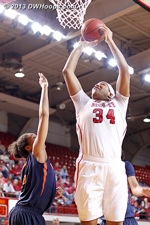 Markeisha Gatling asserted herself in the first half with 14 points on 7-8 shooting.  Coach Kellie Harper commented that Gatling played like she does at practice.  - NCSU Players: #34 Markeisha Gatling