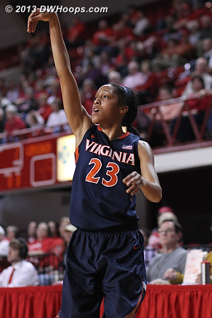 Franklin hits Virginia's only three pointer of the contest, they finished 1-18 from long range  - UVA Players: #23 Ataira Franklin