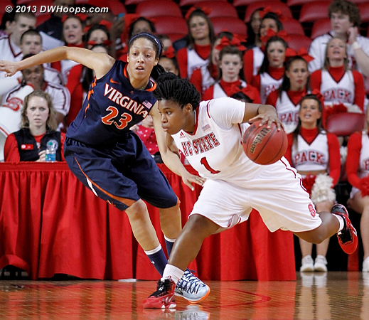 MGC abruptly stops, losing her defender to nail the open three just moments later  - NCSU Players: #1 Myisha Goodwin-Coleman - UVA Tags: #23 Ataira Franklin