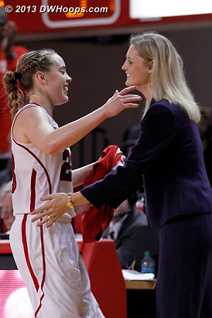 Marissa Kastanek takes her Senior Night curtain call, heading to the bench for an embrace from coach Kellie Harper  - NCSU Players: Head Coach Kellie Harper, #23 Marissa Kastanek