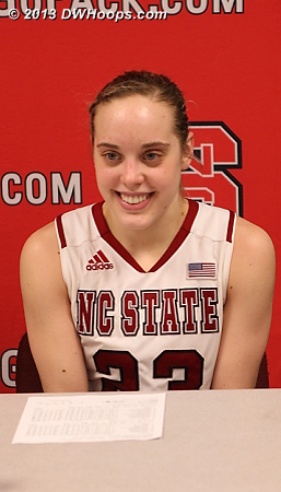 Kastanek said that she visualized herself not crying on Senior Night, and didn't.  NC State certainly had nothing to cry about as a team on this night.  - NCSU Players: #23 Marissa Kastanek