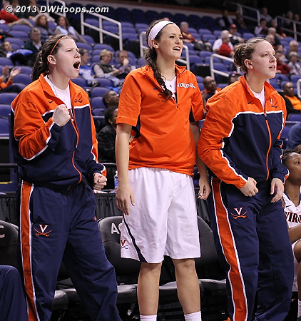 Gerson, Barnette, and Wolfe.  Gerson would soon shed the jacket.  Future coach?  I wouldn't bet against it.  - UVA Players: #3 Sarah Beth Barnette, #10 Kelsey Wolfe, #14 Lexie Gerson
