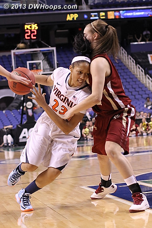 ACCWBBDigest Photo  - UVA Players: #23 Ataira Franklin - BC Tags: #11 Nicole Boudreau