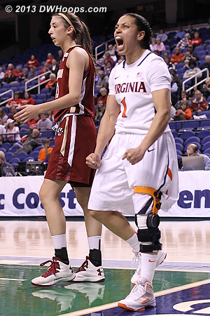 And one!  - UVA Players: #1 China Crosby - BC Tags: #13 Alexa Coulombe