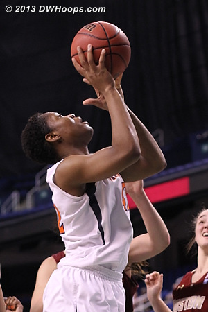 Imovbioh picks up the loose ball, hoop ties it, free throw to come  - UVA Players: #42 Sarah Imovbioh