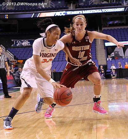 ACCWBBDigest Photo  - UVA Players: #23 Ataira Franklin - BC Tags: #10 Kerri Shields