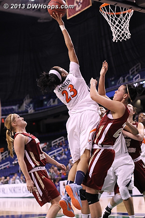 A miss  - UVA Players: #23 Ataira Franklin - BC Tags: #10 Kerri Shields, #21 Kristen Doherty
