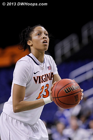 Virginia's last points, 59-57 BC with 1:27 to play  - UVA Players: #23 Ataira Franklin