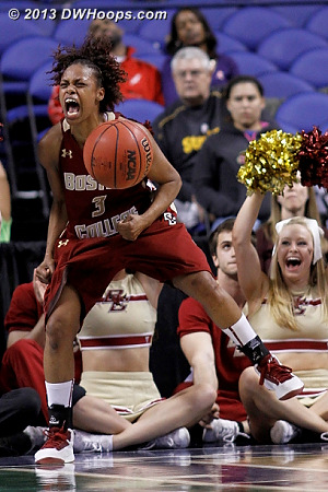 Tessah Holt celebrates as Boston College holds on to defeat Virginia, 66-57