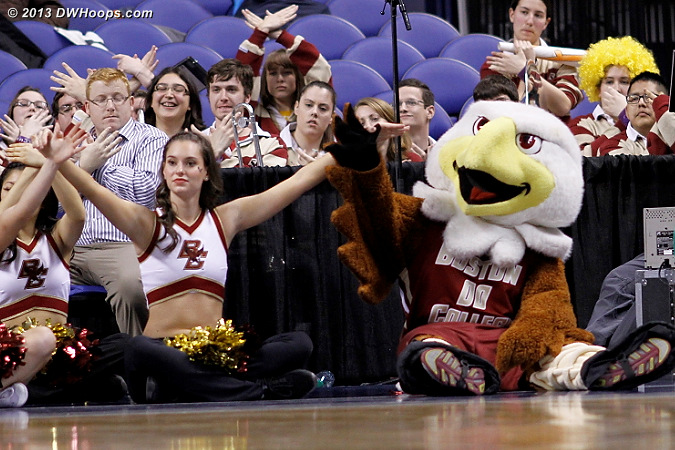 Hoping free throws will seal it  - BC Players: Mascot Baldwin the Eagle,  Boston College Cheerleaders