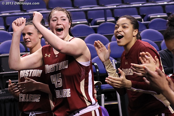 BC players celebrate by the band  - BC Players: #21 Kristen Doherty, #44 Kat Cooper, #45 Katie Zenevitch