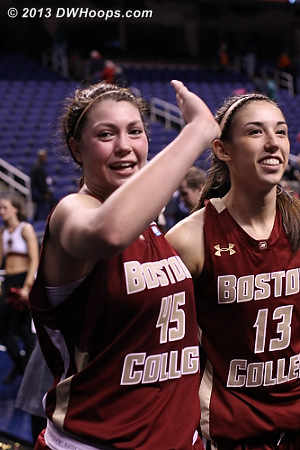 ACCWBBDigest Photo  - BC Players: #45 Katie Zenevitch, #13 Alexa Coulombe