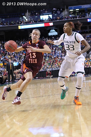 ACCWBBDigest Photo  - VT Players: #13 Alyssa Fenyn - MIA Tags: #33 Suriya McGuire