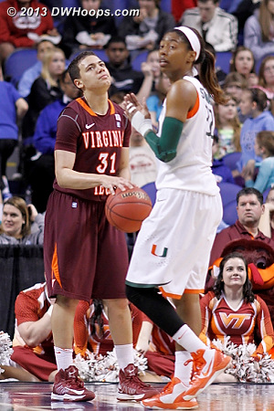 Foul on Tellier  - VT Players: #31 Monet Tellier - MIA Tags: #32 Morgan Stroman