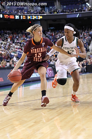 Mutual hands of friendship  - VT Players: #13 Alyssa Fenyn - MIA Tags: #12 Krystal Saunders