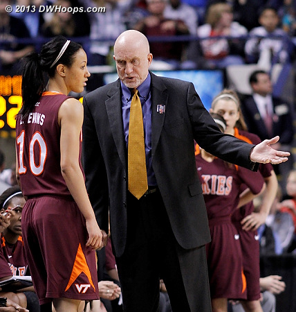 ACCWBBDigest Photo  - VT Players: Head Coach Dennis Wolff, #10 Lauren Evans