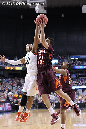 ACCWBBDigest Photo  - VT Players: #31 Monet Tellier - MIA Tags: #12 Krystal Saunders