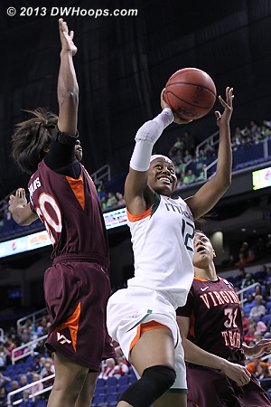 ACCWBBDigest Photo  - VT Players: #20 Nia Evans - MIA Tags: #12 Krystal Saunders