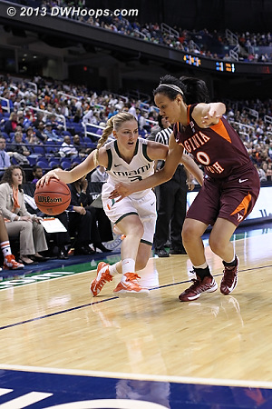 ACCWBBDigest Photo  - VT Players: #20 Nia Evans - MIA Tags: #3 Stefanie Yderstrom