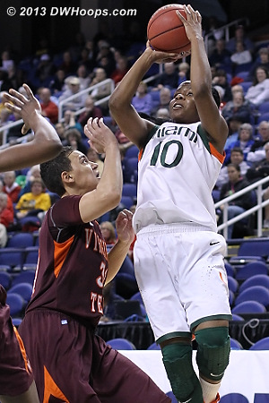 ACCWBBDigest Photo  - VT Players: #31 Monet Tellier - MIA Tags: #10 Michelle Woods
