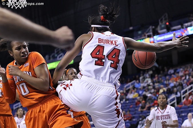 Things getting rough in the paint  - NCSU Players: #44 Kody Burke - CLEM Tags: #10 Aisha Turner
