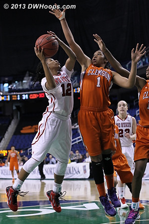 ACCWBBDigest Photo  - NCSU Players: #12 Krystal Barrett - CLEM Tags: #1 Charmaine Tay
