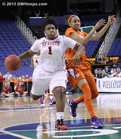 ACCWBBDigest Photo  - NCSU Players: #1 Myisha Goodwin-Coleman - CLEM Tags: #23 Chancie Dunn