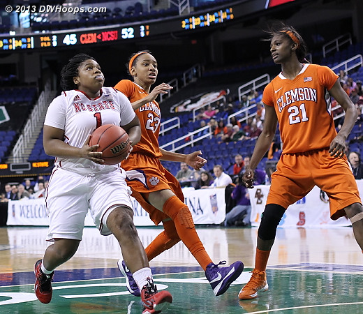 ACCWBBDigest Photo  - NCSU Players: #1 Myisha Goodwin-Coleman - CLEM Tags: #21 Nikki Dixon, #23 Chancie Dunn
