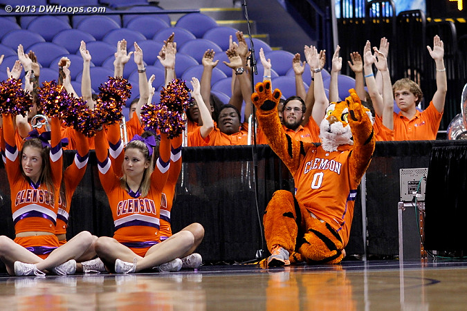ACCWBBDigest Photo  - CLEM Players: Mascot The Tiger,  Clemson Cheerleaders,  Clemson Band