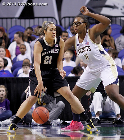Sandra Garcia seems to save some of her best games for the ACC Tournament - today it was a double-double  - GT Players: #11 Nariah Taylor - WAKE Tags: #21 Sandra Garcia