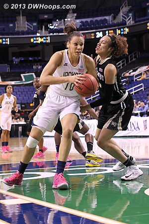 ACCWBBDigest Photo  - GT Players: #10 Danielle Hamilton-Carter - WAKE Tags: #25 Dearica Hamby