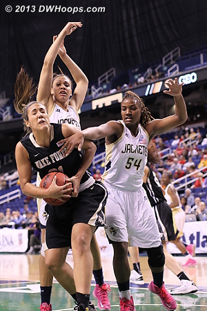 ACCWBBDigest Photo  - GT Players: #54 Roddreka Rogers - WAKE Tags: #21 Sandra Garcia